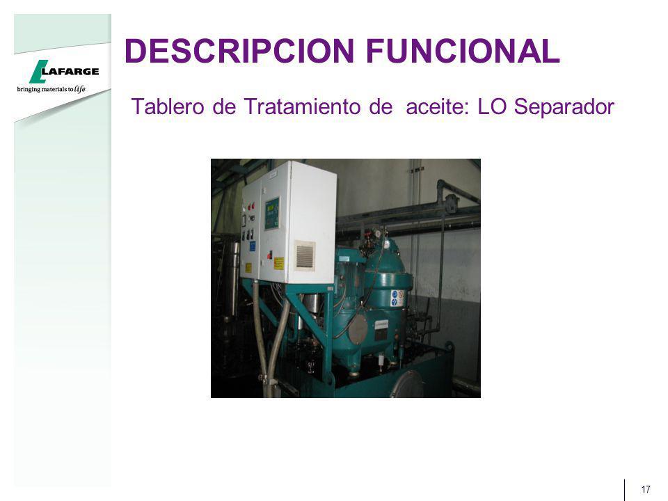 DESCRIPCION FUNCIONAL 17 Tablero de Tratamiento de aceite: LO Separador