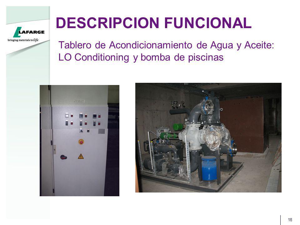 DESCRIPCION FUNCIONAL 18 Tablero de Acondicionamiento de Agua y Aceite: LO Conditioning y bomba de piscinas