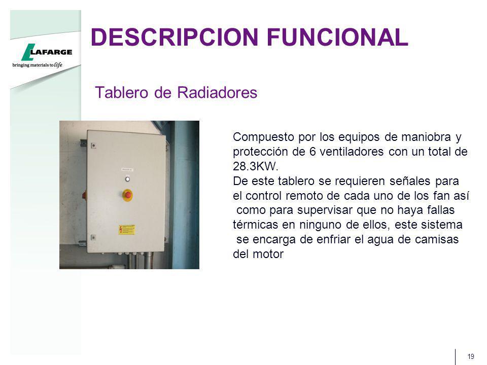 DESCRIPCION FUNCIONAL 19 Tablero de Radiadores Compuesto por los equipos de maniobra y protección de 6 ventiladores con un total de 28.3KW. De este ta