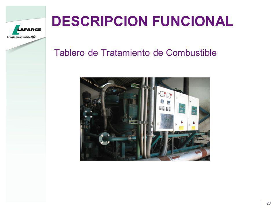 DESCRIPCION FUNCIONAL 20 Tablero de Tratamiento de Combustible