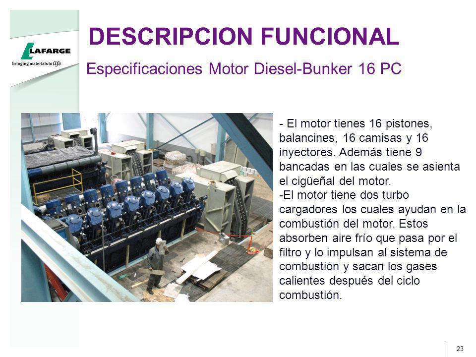 DESCRIPCION FUNCIONAL 23 Especificaciones Motor Diesel-Bunker 16 PC - El motor tienes 16 pistones, balancines, 16 camisas y 16 inyectores.