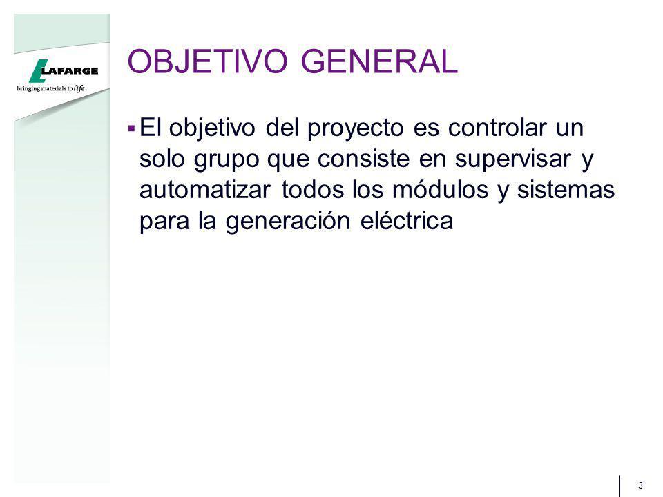 OBJETIVO GENERAL El objetivo del proyecto es controlar un solo grupo que consiste en supervisar y automatizar todos los módulos y sistemas para la generación eléctrica 3