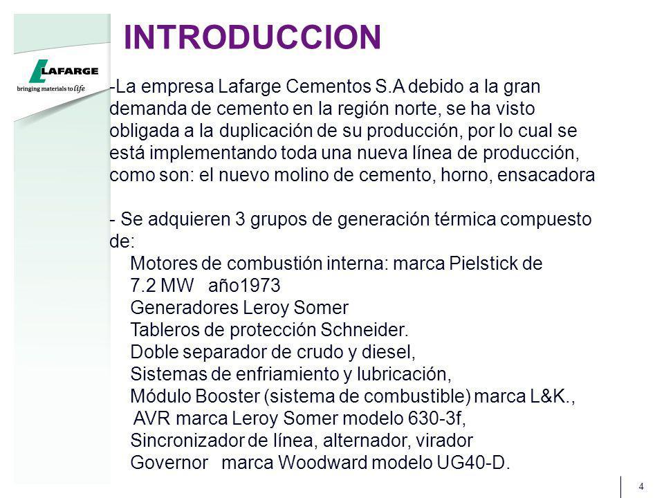 INTRODUCCION 4 -La empresa Lafarge Cementos S.A debido a la gran demanda de cemento en la región norte, se ha visto obligada a la duplicación de su pr