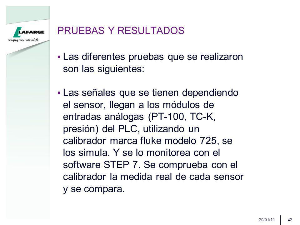 PRUEBAS Y RESULTADOS Las diferentes pruebas que se realizaron son las siguientes: Las señales que se tienen dependiendo el sensor, llegan a los módulos de entradas análogas (PT-100, TC-K, presión) del PLC, utilizando un calibrador marca fluke modelo 725, se los simula.