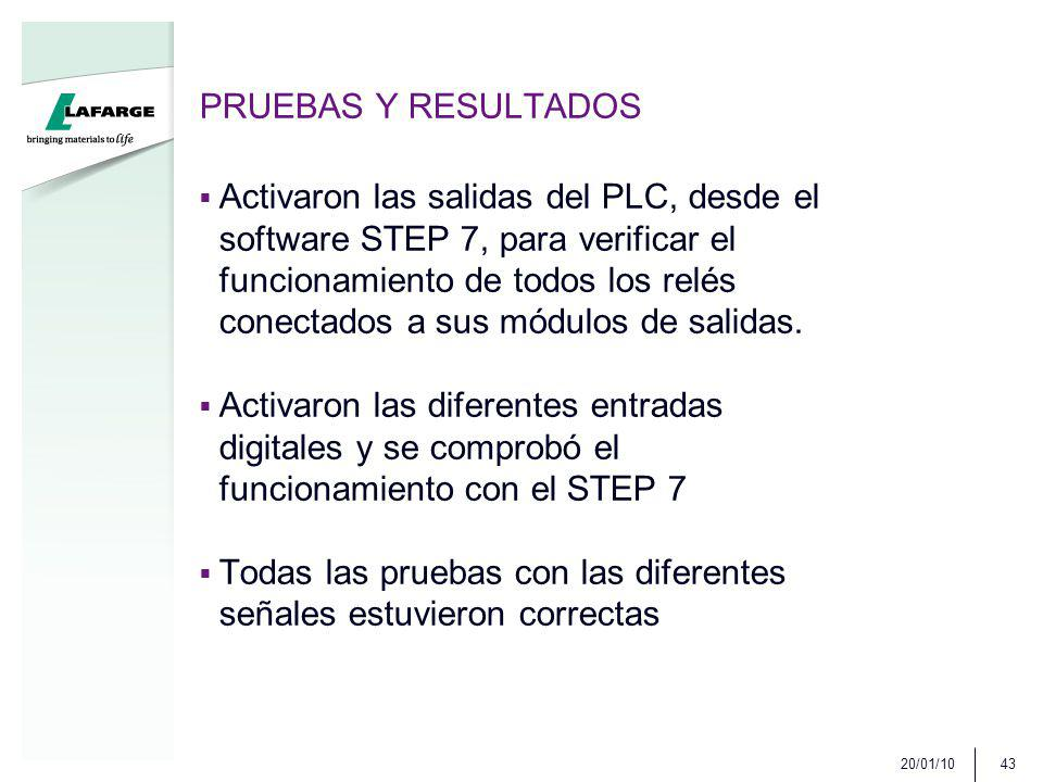PRUEBAS Y RESULTADOS Activaron las salidas del PLC, desde el software STEP 7, para verificar el funcionamiento de todos los relés conectados a sus módulos de salidas.