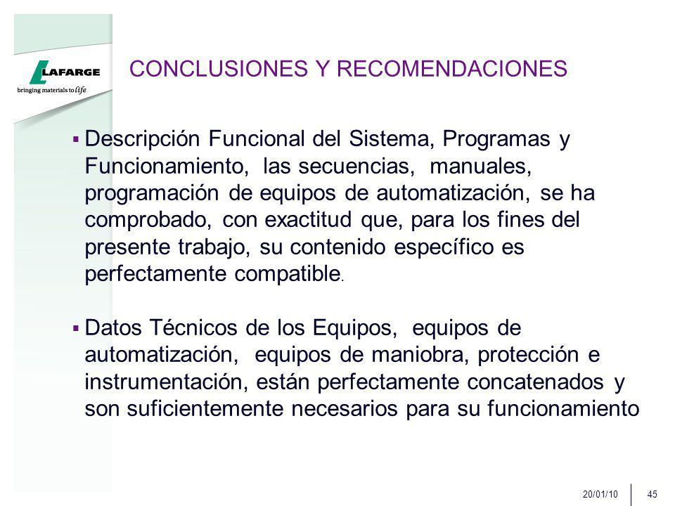 CONCLUSIONES Y RECOMENDACIONES Descripción Funcional del Sistema, Programas y Funcionamiento, las secuencias, manuales, programación de equipos de automatización, se ha comprobado, con exactitud que, para los fines del presente trabajo, su contenido específico es perfectamente compatible.