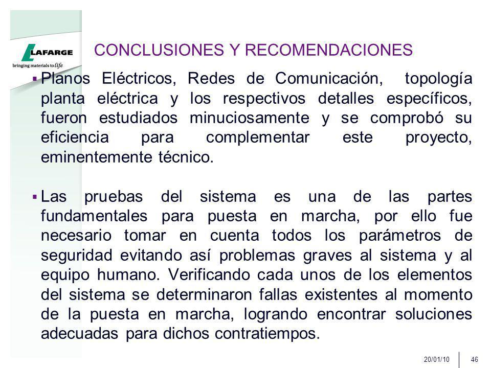 CONCLUSIONES Y RECOMENDACIONES Planos Eléctricos, Redes de Comunicación, topología planta eléctrica y los respectivos detalles específicos, fueron est