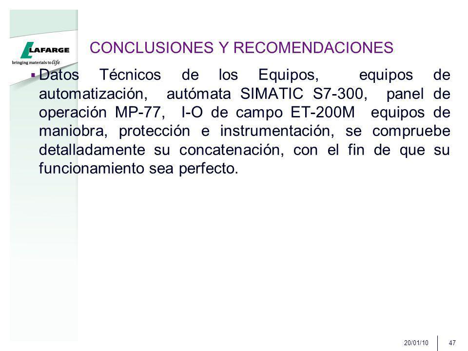 CONCLUSIONES Y RECOMENDACIONES Datos Técnicos de los Equipos, equipos de automatización, autómata SIMATIC S7-300, panel de operación MP-77, I-O de cam