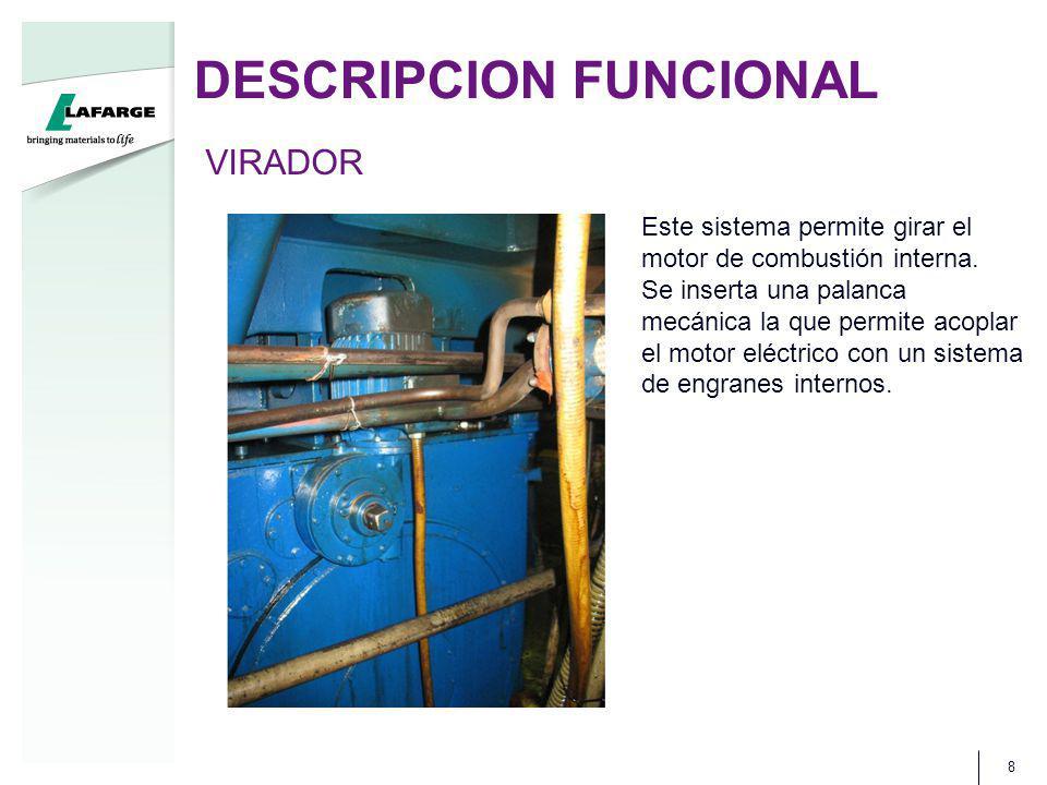 DESCRIPCION FUNCIONAL 8 VIRADOR Este sistema permite girar el motor de combustión interna. Se inserta una palanca mecánica la que permite acoplar el m