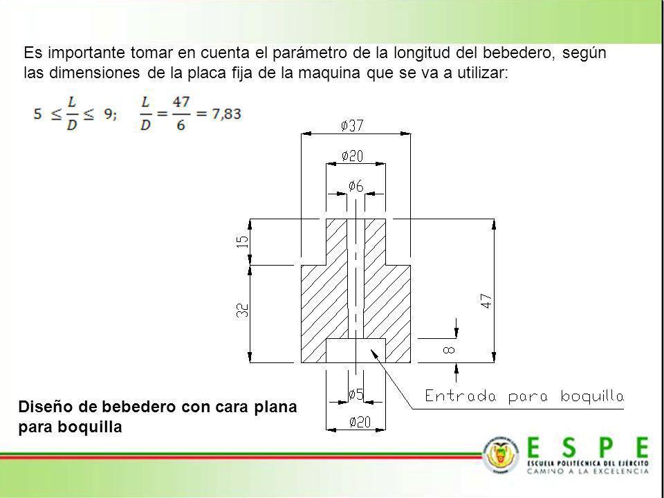 Es importante tomar en cuenta el parámetro de la longitud del bebedero, según las dimensiones de la placa fija de la maquina que se va a utilizar: Dis