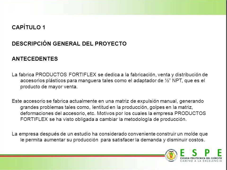 CAPÍTULO 1 DESCRIPCIÓN GENERAL DEL PROYECTO ANTECEDENTES La fabrica PRODUCTOS FORTIFLEX se dedica a la fabricación, venta y distribución de accesorios