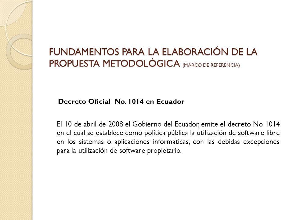FUNDAMENTOS PARA LA ELABORACIÓN DE LA PROPUESTA METODOLÓGICA (MARCO DE REFERENCIA) Decreto Oficial No. 1014 en Ecuador El 10 de abril de 2008 el Gobie