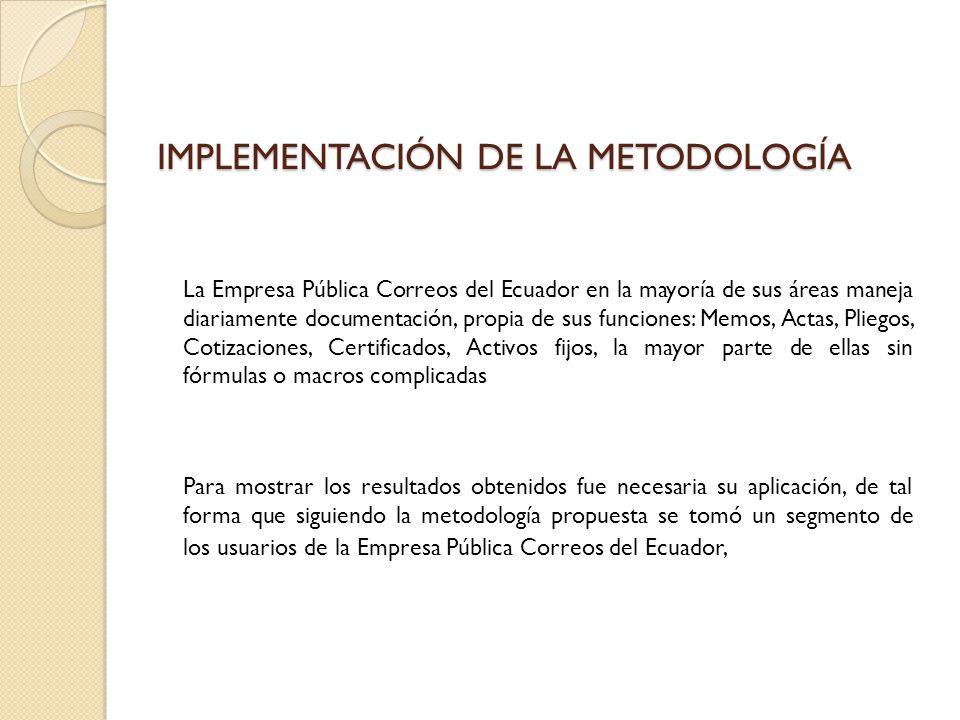 IMPLEMENTACIÓN DE LA METODOLOGÍA La Empresa Pública Correos del Ecuador en la mayoría de sus áreas maneja diariamente documentación, propia de sus fun