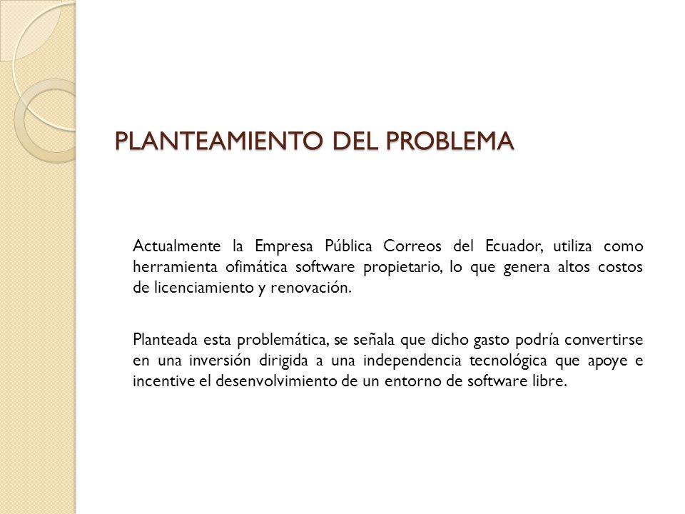 Actualmente la Empresa Pública Correos del Ecuador, utiliza como herramienta ofimática software propietario, lo que genera altos costos de licenciamie