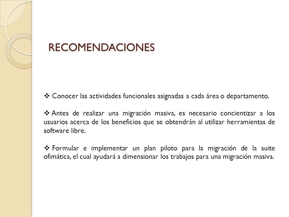 RECOMENDACIONES Conocer las actividades funcionales asignadas a cada área o departamento. Antes de realizar una migración masiva, es necesario concien