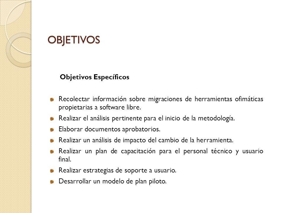 OBJETIVOS Objetivos Específicos Recolectar información sobre migraciones de herramientas ofimáticas propietarias a software libre. Realizar el análisi