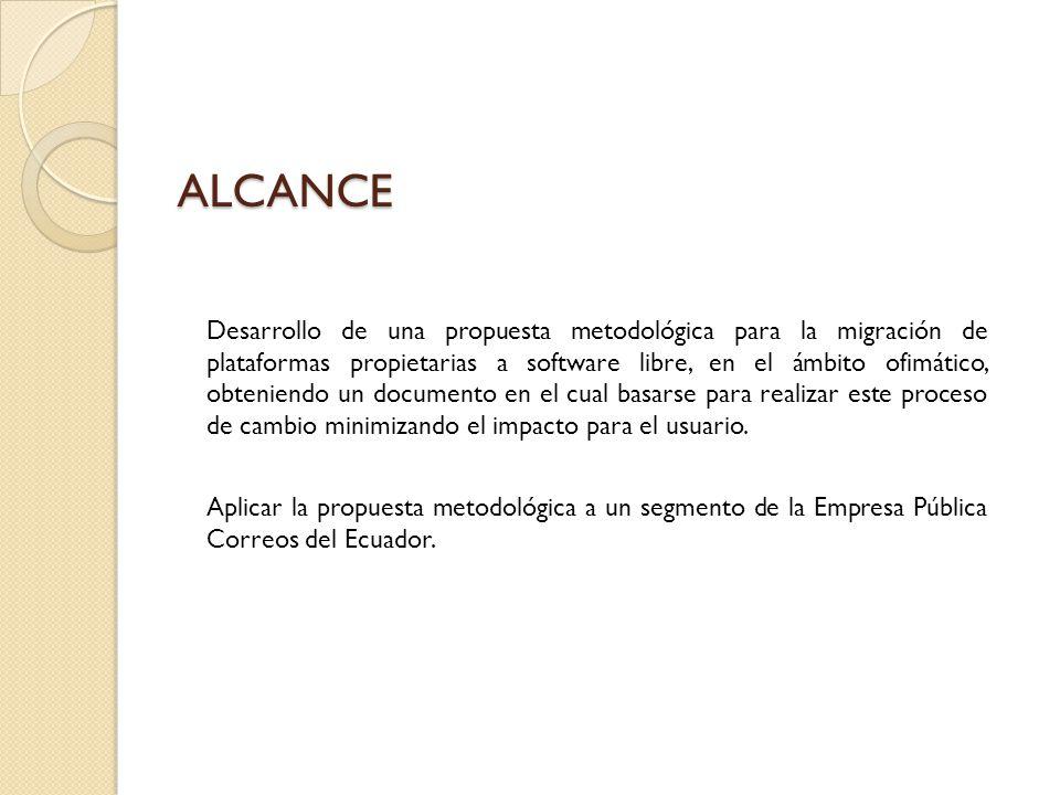 ALCANCE Desarrollo de una propuesta metodológica para la migración de plataformas propietarias a software libre, en el ámbito ofimático, obteniendo un