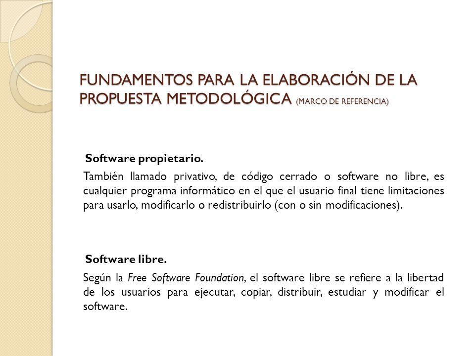 FUNDAMENTOS PARA LA ELABORACIÓN DE LA PROPUESTA METODOLÓGICA (MARCO DE REFERENCIA) Software propietario. También llamado privativo, de código cerrado