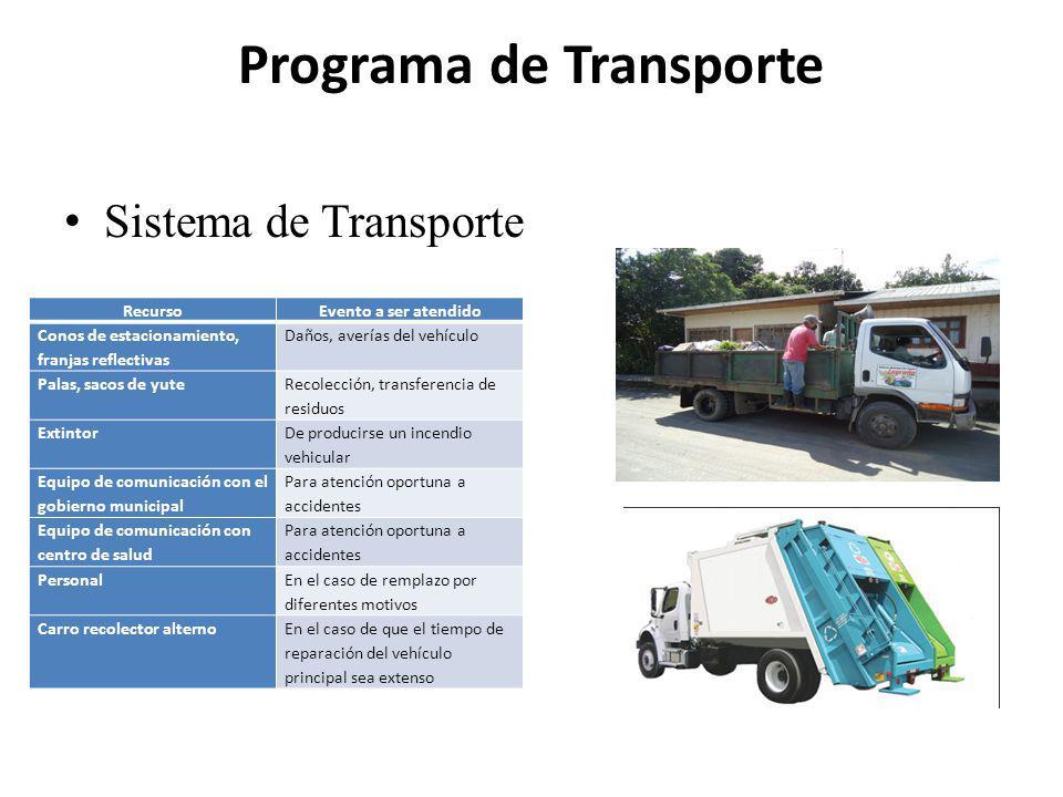 Programa de Transporte Sistema de Transporte RecursoEvento a ser atendido Conos de estacionamiento, franjas reflectivas Daños, averías del vehículo Pa