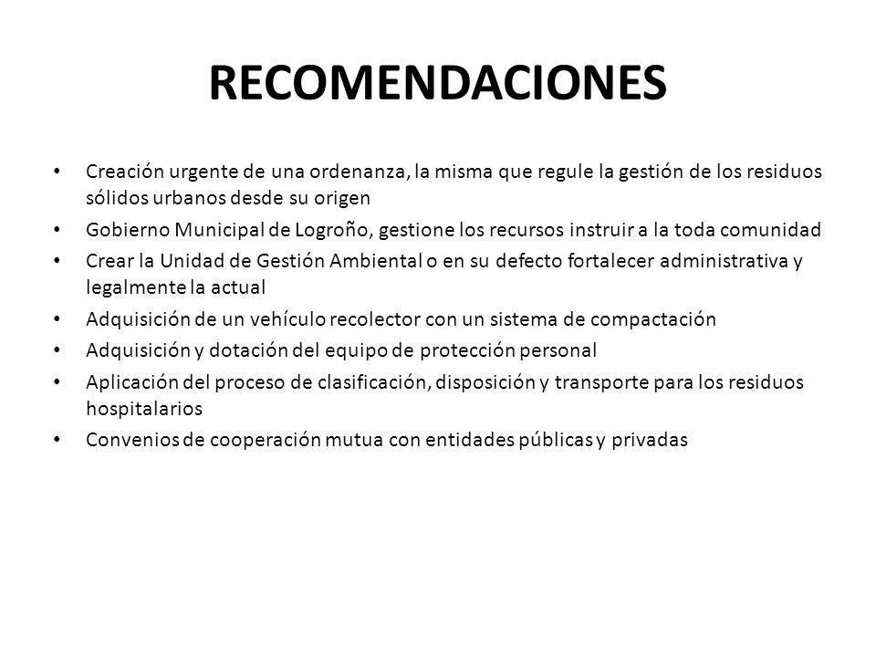 RECOMENDACIONES Creación urgente de una ordenanza, la misma que regule la gestión de los residuos sólidos urbanos desde su origen Gobierno Municipal d