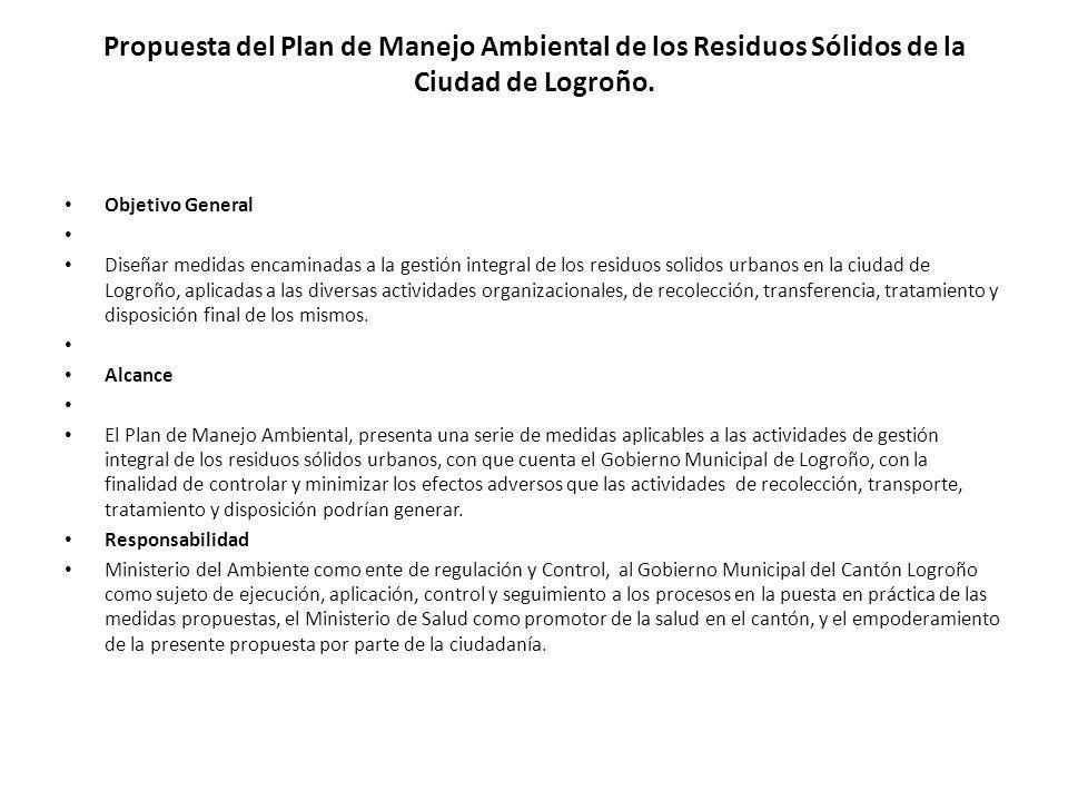Propuesta del Plan de Manejo Ambiental de los Residuos Sólidos de la Ciudad de Logroño. Objetivo General Diseñar medidas encaminadas a la gestión inte