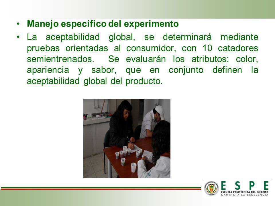 Manejo específico del experimento La aceptabilidad global, se determinará mediante pruebas orientadas al consumidor, con 10 catadores semientrenados.