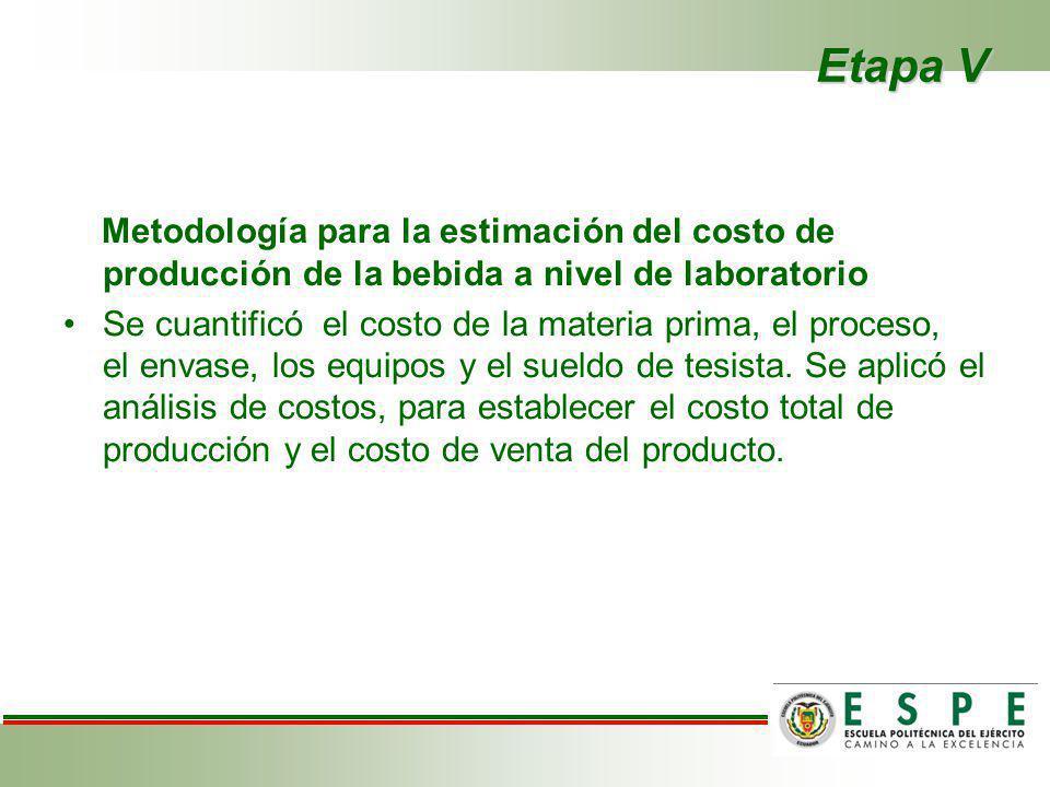 Etapa V Metodología para la estimación del costo de producción de la bebida a nivel de laboratorio Se cuantificó el costo de la materia prima, el proc