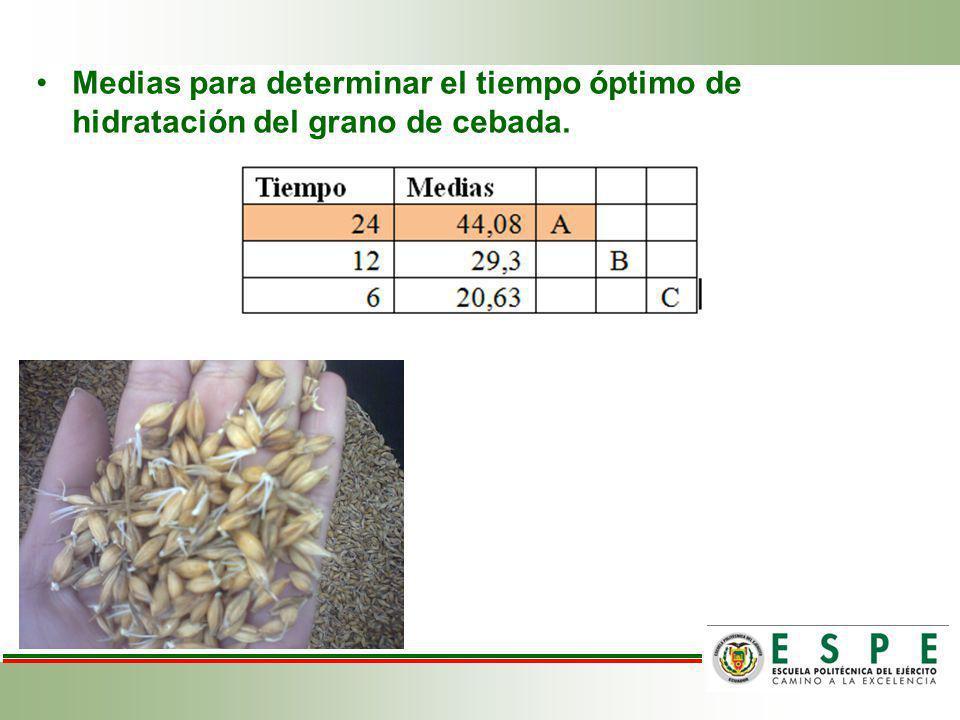 Medias para determinar el tiempo óptimo de hidratación del grano de cebada.