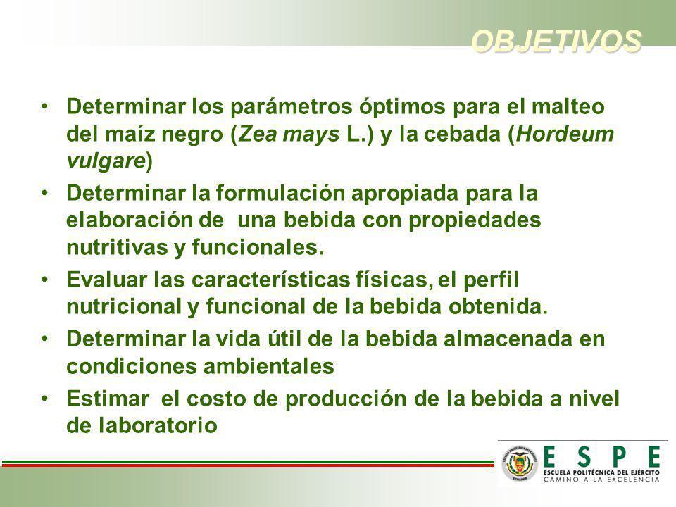 OBJETIVOS Determinar los parámetros óptimos para el malteo del maíz negro (Zea mays L.) y la cebada (Hordeum vulgare) Determinar la formulación apropi