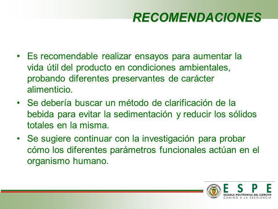 RECOMENDACIONES Es recomendable realizar ensayos para aumentar la vida útil del producto en condiciones ambientales, probando diferentes preservantes