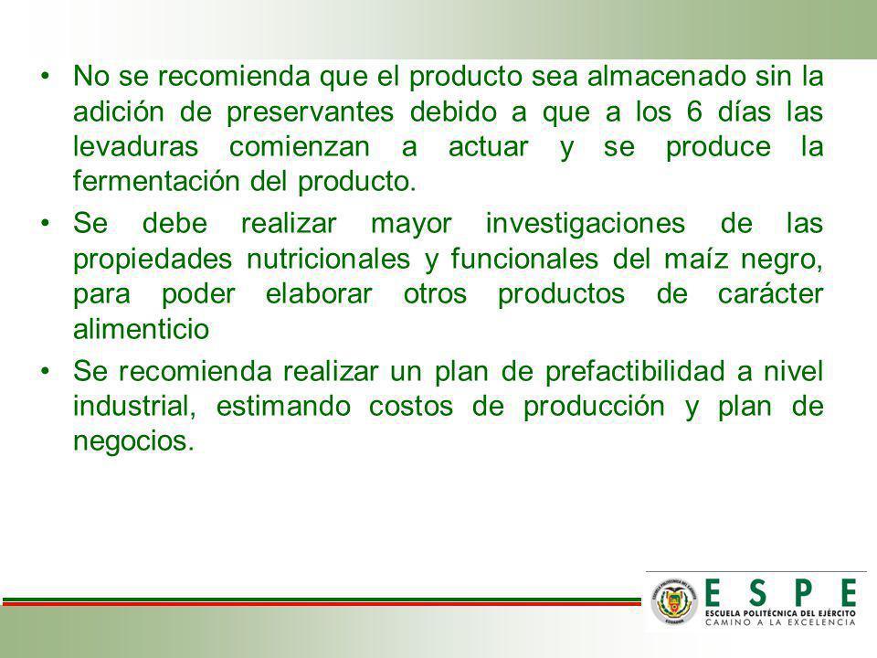 No se recomienda que el producto sea almacenado sin la adición de preservantes debido a que a los 6 días las levaduras comienzan a actuar y se produce