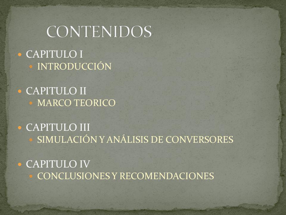CAPITULO I INTRODUCCIÓN CAPITULO II MARCO TEORICO CAPITULO III SIMULACIÓN Y ANÁLISIS DE CONVERSORES CAPITULO IV CONCLUSIONES Y RECOMENDACIONES