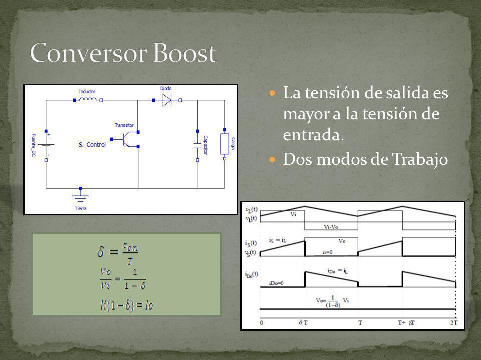 La tensión de salida puede ser menor o mayor que el voltaje de entrada pero de polaridad opuesta