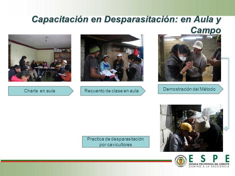 Capacitación en Desparasitación: en Aula y Campo Charla en aula Demostración del Método Recuento de clase en aula Practica de desparasitación por cavicultores