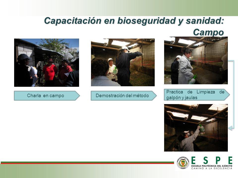 Capacitación en bioseguridad y sanidad: Campo Capacitación en bioseguridad y sanidad: Campo Charla en campoDemostración del método Practica de Limpieza de galpón y jaulas