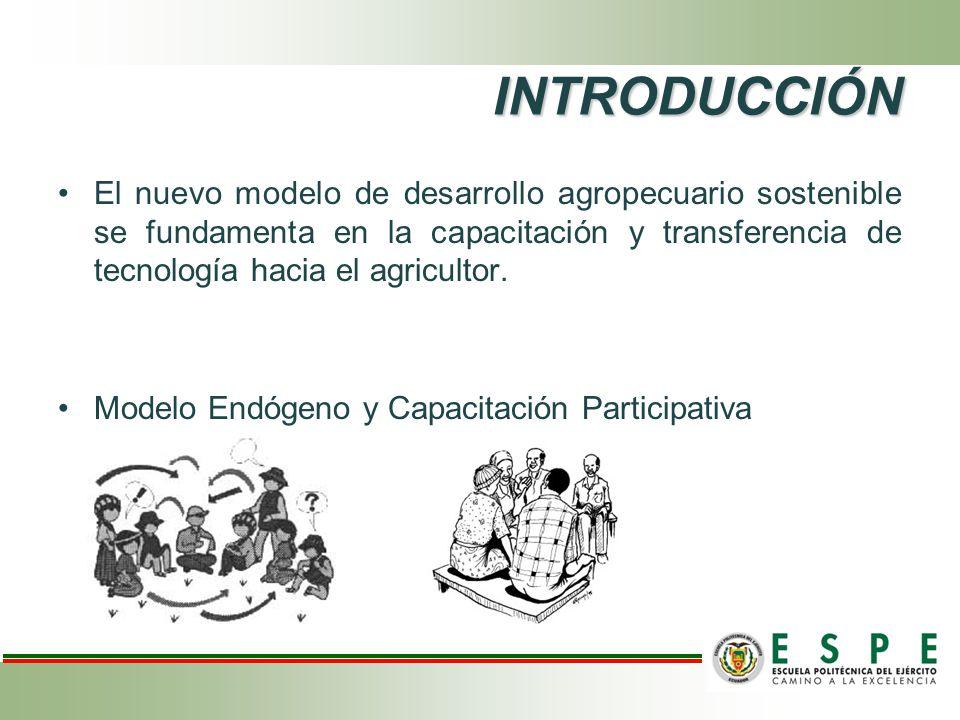 INTRODUCCIÓN El nuevo modelo de desarrollo agropecuario sostenible se fundamenta en la capacitación y transferencia de tecnología hacia el agricultor.