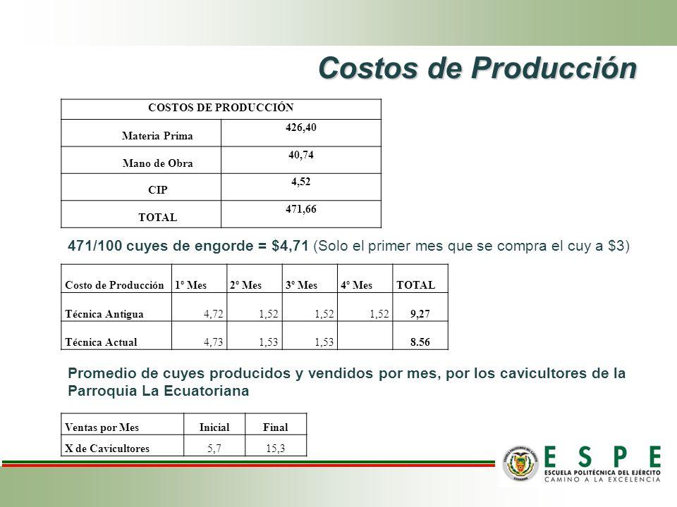 Costos de Producción COSTOS DE PRODUCCIÓN Materia Prima 426,40 Mano de Obra 40,74 CIP 4,52 TOTAL 471,66 471/100 cuyes de engorde = $4,71 (Solo el primer mes que se compra el cuy a $3) Costo de Producción1º Mes2º Mes3º Mes4º MesTOTAL Técnica Antigua4,721,52 9,27 Técnica Actual4,731,53 8.56 Ventas por MesInicialFinal X de Cavicultores5,715,3 Promedio de cuyes producidos y vendidos por mes, por los cavicultores de la Parroquia La Ecuatoriana