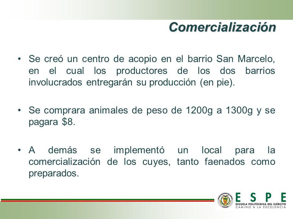 Comercialización Se creó un centro de acopio en el barrio San Marcelo, en el cual los productores de los dos barrios involucrados entregarán su produc