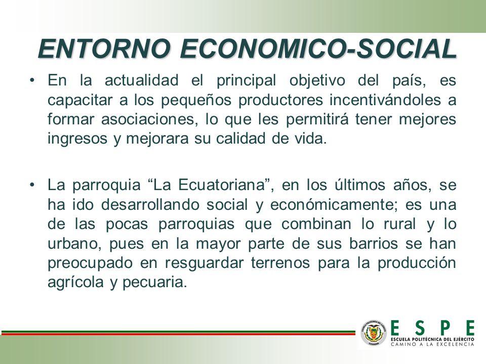 ENTORNO ECONOMICO-SOCIAL En la actualidad el principal objetivo del país, es capacitar a los pequeños productores incentivándoles a formar asociacione