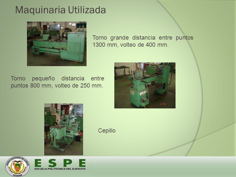 Maquinaria Utilizada Torno grande distancia entre puntos 1300 mm, volteo de 400 mm.
