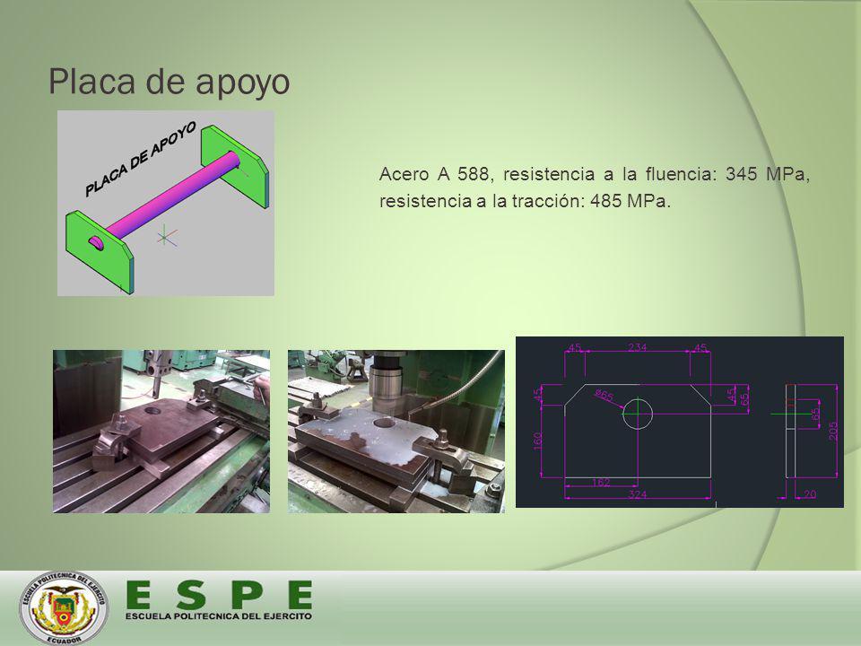 Placa de apoyo Acero A 588, resistencia a la fluencia: 345 MPa, resistencia a la tracción: 485 MPa.