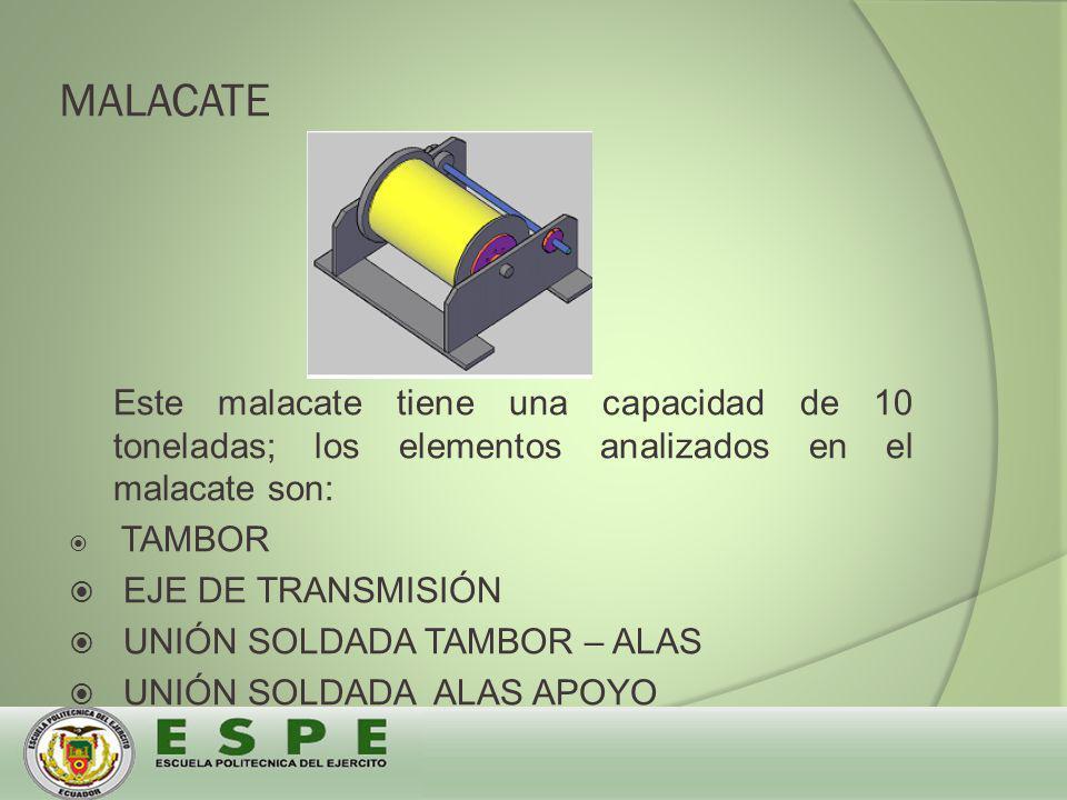MALACATE Este malacate tiene una capacidad de 10 toneladas; los elementos analizados en el malacate son: TAMBOR EJE DE TRANSMISIÓN UNIÓN SOLDADA TAMBOR – ALAS UNIÓN SOLDADA ALAS APOYO