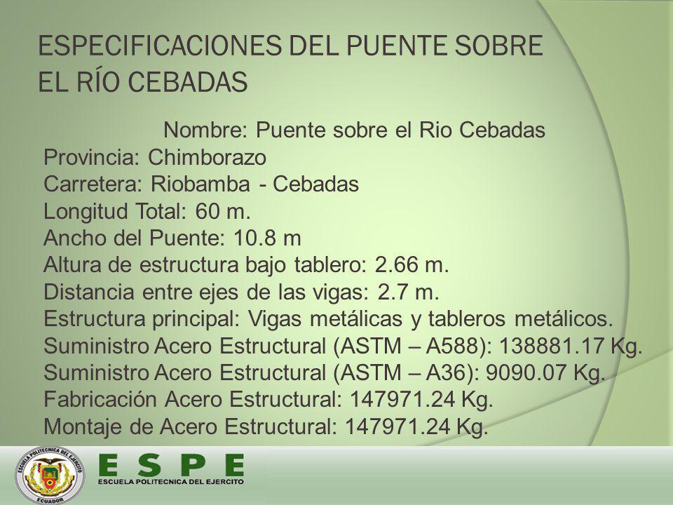 ESPECIFICACIONES DEL PUENTE SOBRE EL RÍO CEBADAS Nombre: Puente sobre el Rio Cebadas Provincia: Chimborazo Carretera: Riobamba - Cebadas Longitud Total: 60 m.