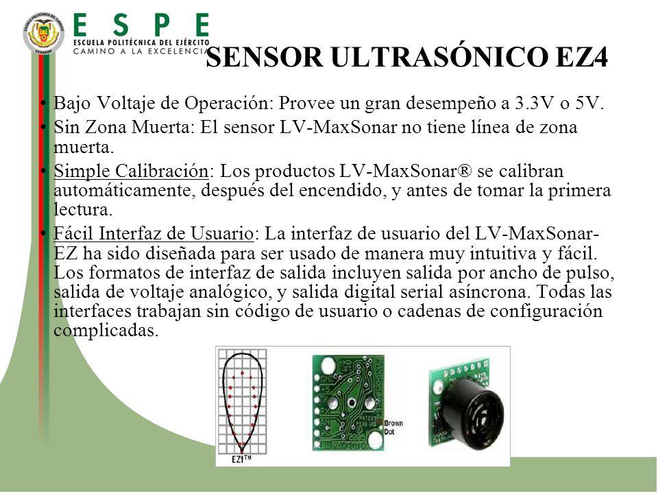SENSOR ULTRASÓNICO EZ4 Bajo Voltaje de Operación: Provee un gran desempeño a 3.3V o 5V. Sin Zona Muerta: El sensor LV-MaxSonar no tiene línea de zona