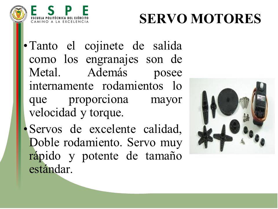 SERVO MOTORES Tanto el cojinete de salida como los engranajes son de Metal. Además posee internamente rodamientos lo que proporciona mayor velocidad y