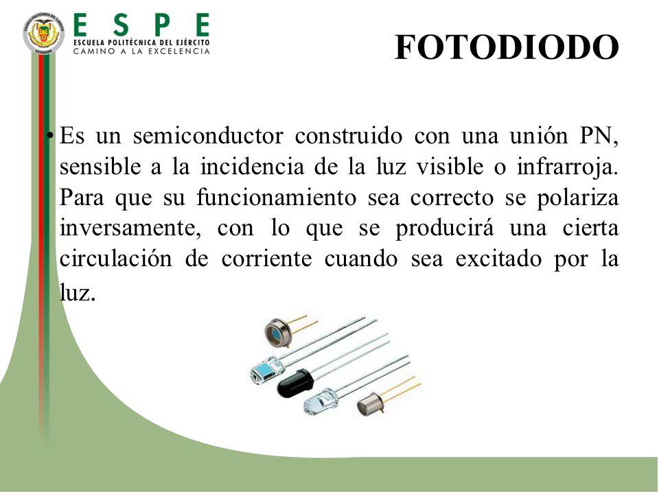 FOTODIODO Es un semiconductor construido con una unión PN, sensible a la incidencia de la luz visible o infrarroja. Para que su funcionamiento sea cor