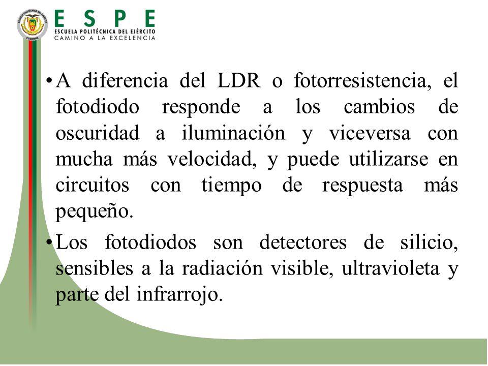 A diferencia del LDR o fotorresistencia, el fotodiodo responde a los cambios de oscuridad a iluminación y viceversa con mucha más velocidad, y puede u