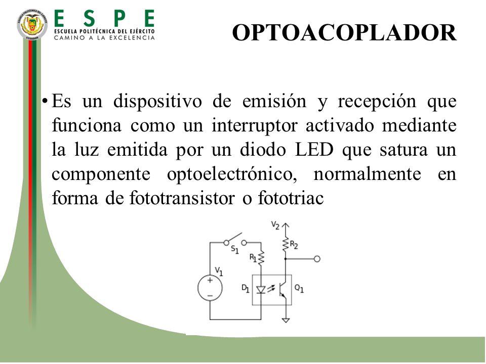 OPTOACOPLADOR Es un dispositivo de emisión y recepción que funciona como un interruptor activado mediante la luz emitida por un diodo LED que satura u