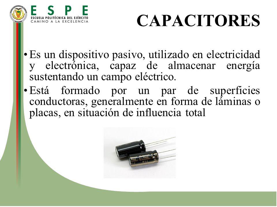 CAPACITORES Es un dispositivo pasivo, utilizado en electricidad y electrónica, capaz de almacenar energía sustentando un campo eléctrico. Está formado