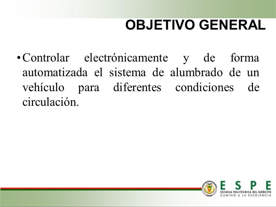 OBJETIVO GENERAL Controlar electrónicamente y de forma automatizada el sistema de alumbrado de un vehículo para diferentes condiciones de circulación.
